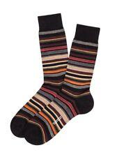 NEW PANTHERELLA Superfine English Merino Wool Multistripe Socks, Black, Medium
