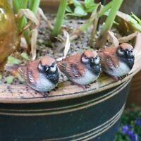 Set of 3 Pot Topping Sparrow Bird Garden Ornaments