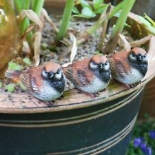 Set of 3 Pot Topping Sparrow Bird Garden Ornaments
