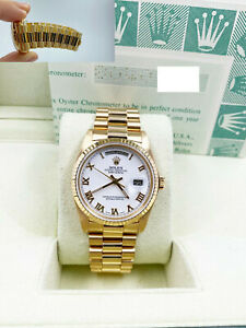 Rolex President Day Date 18038 White Roman Dial 18K Yellow Gold Box Papers