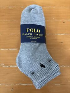 Polo Ralph Lauren Men's Athletic 6-Pair Quarter Crew Socks  Gray   8892