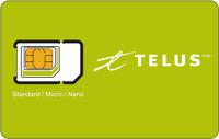 Telus Multi SIM Card Triple Format (Nano + Micro + Regular) LTE Canada Prepaid