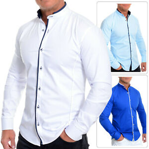 Mens Elegant Long Sleeve Shirt Smart Mandarin Collar Cotton White Blue Stitching
