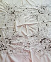 Vintage Round Ecru Cream Cutwork Embroidered Madeira Tablecloth 165 cm High Tea
