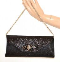 BOLSO CLUTCH bag mujer negro purpurina elegante ceremonia matrimonio A30