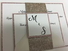 Rose Gold & Blush Glitter Wedding Invitations - Personalised With RSVP & Env