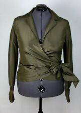 *NWT Worth Size 20 Olive Green Silk Wrap Top Blouse Shirt Bow Plus Size NEW Sexy