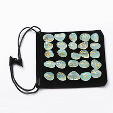 Aquamarine Rune Set Tumble Natural Gemstones Reiki Healing Therapy Pouch 25 Pc