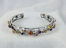 Sterling Silver And Multi Color Amber Bangle Bracelet Brand New