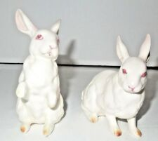 """Set of Two Leftin Easter Bunnies Rabbits Figurines 4"""" x 4"""""""