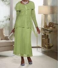 Occasion Dinner evening Church party prom Lace green 3PC skirt suit plus 22W2X3X