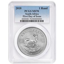 2018 South Africa Silver Krugerrand 1oz PCGS MS70 FDOI Blue Label