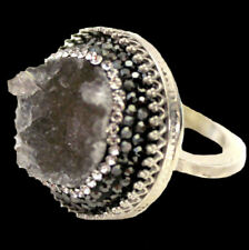 Unikat Ring mit großem Roh Achat, Zirkoniapavé, 925er Sterlingsilber ca. Gr 54