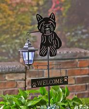Yorkie Dog Welcome Stake Solar Light Lantern Yard Garden Deck Patio Silhouette