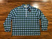 Ralph Lauren RLX Ivy Golf Club 1/4 Zip Pullover Plaid Green Men's Size XXL $168