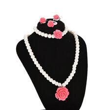 Kid Girl Child Pearl Flower Shape Necklace Bracelet Ring Ear Clip Set Jewelry Wt