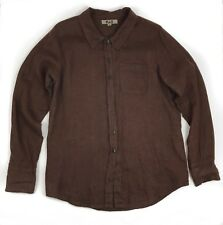 FLAX Chocolate Brown 100% Linen Button Long Sleeve Pocket Top Small Lagenlook
