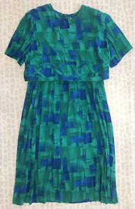 Lady Dorby Women Green Blue Geometric Short Sleeve Long Blouson Dress Size 24W
