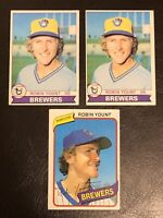 3- Robin Yount Topps Cards: 2-1979T #95, 1-1980T #265 NM-MT HOF Brewers