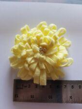 Handmade felt brooch - yellow frilly flower