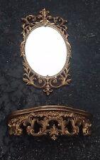 Turner Mirror And Shelf Set Hollywood Regency Gold Ornate Art Wall Decor Vintage