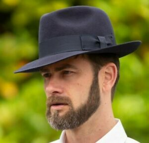Brand New Navy 100% Wool Wide Brim High Quality Traditional Fedora Trilby Hat MF