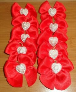 10 Hand Tied Red Grooming Bows HEART Centre
