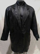 General Clothing Co. Leather Black/Button Career/Over Coat/Longer Jacket-Small