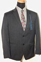 Tommy Hilfiger 100% Wool Solid Charcoal Gray Mens Suit Trim Fit 42R & 40L 77968