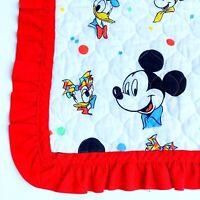 VTG Walt Disney World Mickey Mouse Minnie Donald Duck Quilt Blanket Baby Room