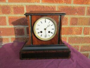 French 8 Day Walnut and Ebony Striking Mantle Clock C1885