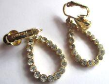Superbes boucles d'oreilles clips bijou vintage plaqué or cristaux TRIFARI 5117