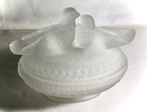 Westmoreland Crystal Satin Lovebirds Covered Dish Powder Jar