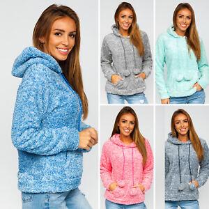 Fleecejacke Sweatshirt Pullover Classic Übergangs Unifarben Damen BOLF Kapuze