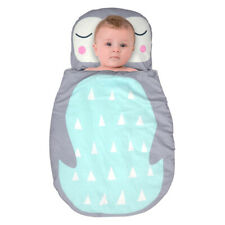 Baby soft flannel portable cartoon sleeping bag blanket with pillow