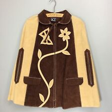 Vtg 70s Leather Cut Out Butterfly Flower Cape Poncho Mexico Hippie Boho Jacket