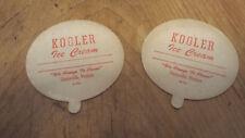 """2 vintage paper Kooler Ice Cream Lids """"We Freeze to Please"""" Clarksville, VA"""