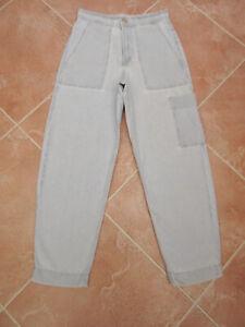 Zara - Womens Very Light Blue High Rise Cotton Denim Loose Fit Jeans - size 8