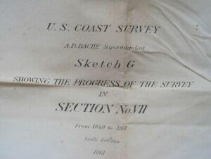 Original 1861 Coast Survey Map FLORIDA GULF COAST Pensacola Cedar Key Clearwater