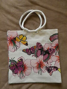 PINK / PURPLE BUTTERFLY DESIGN JUTE SHOPPING / TOTE BAG. NEW.