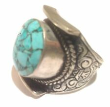 Nugget Mosaic Size 9.25 Usa Seller Nepal Tibet Silver Ring with Round Turquoise