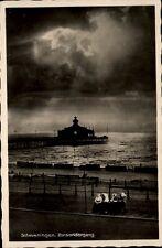 Scheveningen  Holland AK ~1930/40 Zonsondergang Sonnenuntergang an der Seebrücke