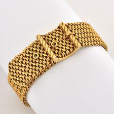 1940-55 Retro Modern18k Rose Gold Hand Made Mesh Bracelet Buckle Motif Design