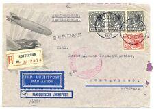 NEDERLAND ZEPPELIN 1937-3-22  URUGUAY ( TR CT 187½ )  BUSINES  CV  FINE DEFECTS