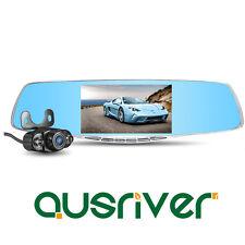 "1080P Dual Lens 5.0"" Car Camera Video DVR Cam Recorder Reversing Rearview Mirror"