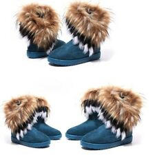 Blue US5.5 Womens Faux Fur Lined Winter Warm Ankle Snow Boots Casual Flat Shoes