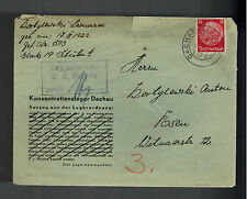 1940 Germany Dachau Concentration Camp Cover to Posen Leonard Kortylewski KZ