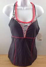 NEW Athleta Torpedo Tank Tankini MT Asphalt Gray Built In Bra Running Swim NWT