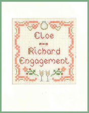 Engagement celebration greeting card  - Complete Cross Stitch Kit on 16 aida