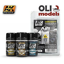 Air Series: Aircraft Engine Effects Weathering Set 3x35 ml - AK Interactive 2000